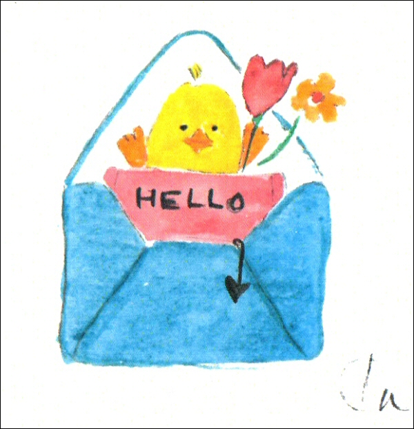 Hello Easter Chick in envelope